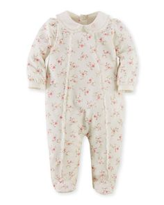 Floral Footie Coverall, Cream, Size 3-9 Months by Ralph Lauren Childrenswear at Neiman Marcus.