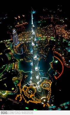 Dubai, above the tallest building in the world.