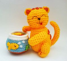 Kitty Cat with Godfish Tank Amigurumi Crochet Pattern by HandmadeKitty=^_^=, via Flickr