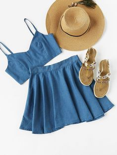 ¡Cómpralo ya!. Crop Chambray Cami Top And Skirt Set. Skirt Blue Denim Plain Strap Sleeveless Cute Vacation Fabric has no stretch Summer Two-piece Outfits. , topcorto, croptops, croptop, croptops, croptop, topcrop, topscrops, cropped, topbailarina, corto, camisolacorta, crop, croppedt-shirt, kurzestop, topcorto, topcourt, topcorto, cortos. Top corto  de mujer color gris pizarra claro de SheIn.