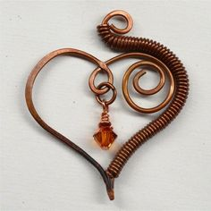 Wire Wrapped Heart Shaped Pendant Component by SunStones on Etsy