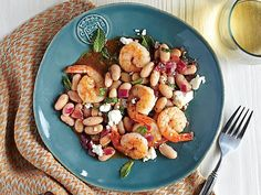 30. Roasted Shrimp with White Beans and Feta | Our 31-day calendar of meals and tips shows you how to cook more and love it with fun, family-friendly meals that come together quickly and deliciously.