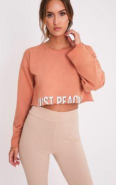 JUST PEACHY Deep Peach Slogan Cropped Sweatshirt Image 1