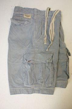 SOLD! Abercrombie Fitch Railroad Striped Blue Cargo Shorts (Mens 30) Button Fly 2693 #AbercrombieFitch #CargoShorts #MensWear #Cabana #Railroad