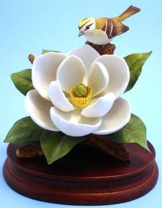 Magnolia Kinglet Bird Figurine Andrea by Sadek Porcelain 6891 1983 | eBay