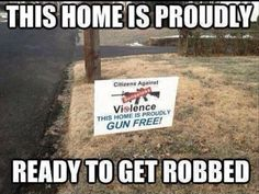 Why would anyone put a sign like this up in their yard? You can be proud to have no guns in your house, but to announce that to the world by putting up a sign is a little dangerous in my opinion.