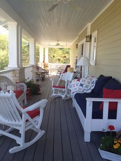 Red Rocking Chair White Wooden Front Porch Furniture Screen Door
