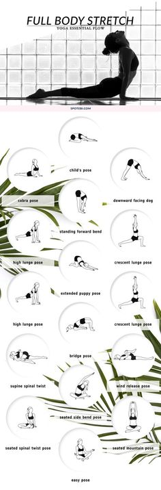 Improve your range of motion, increase circulation, and calm your mind with this 10 minute full body stretching flow. The following yoga poses target your tightest muscles, ensuring an amazing total body stretch! http://www.spotebi.com/yoga-sequences/full-body-stretch/