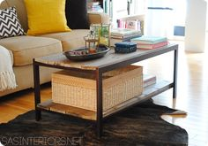 Industrial Wood and Metal Coffee Table Makeover