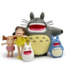 Studio Ghibli My Neighbor Totoro Shouting Totoro Satsuki Mei Resin Action Figure Toy Classic Toys for Garden Ornaments 5pcs/lot #Affiliate