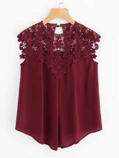 SHEIN Burgundy Sleeveless Round Neck Sexy Blouse Keyhole Button Back Daisy Lace Shoulder Shell Top Women Elegant Blouses - SHEIN Burgundy Sleeveless Round Neck Sexy Blouse Keyhole Button Back D – eefury Source by wwdresslily - Sexy Blouse, Mode Hijab, Looks Vintage, All About Fashion, Elegant Dresses, Blouses For Women, Ideias Fashion, Fashion Dresses, Clothes