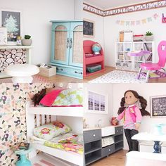 """A few more pics of the 18"""" American girl doll house rooms. This project was so fun!! Used Stuva Ikea shelves and then went to town at the thrift store!"""