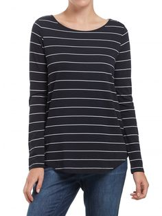 Basics - Navy Stripe Shirt Tail Top - Clothing - Sussan