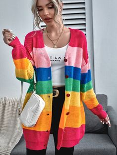 Button Front Drop Shoulder Rainbow Stripe Cardigan Rainbow Cardigan, Striped Cardigan, Long Summer Cardigan, Winter Outfits Women, Cardigan Sweaters For Women, Sweater Cardigan, Types Of Sleeves, Trends, Rainbows