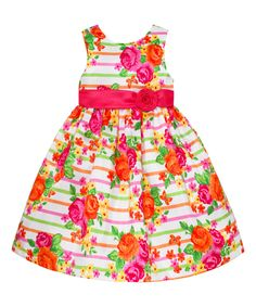 American Princess Coral Floral Stripe A-Line Dress - Infant, Toddler & Girls by American Princess #zulily #zulilyfinds