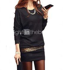 Women's Black/White Mini Dress, Batwing Sleeve Sequin Design - USD $7.99