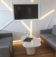 Here, Orac Decor Skirtings CX190 have been used on the wall with Indirect LED lighting to create this unusual modern effect
