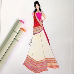 Indian Bridal Wear, Pakistani Bridal Dresses, Indian Dresses, Indian Fashion, Fashion Art, Fashion Looks, Fashion Design Drawings, Fashion Sketches, Fashion Illustration Dresses