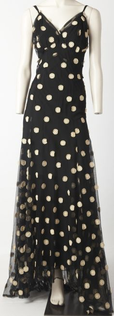 1930s bias-cut polka dot gown.
