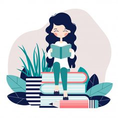 A Girl Is Sitting And Reading A Book. A girl is sitting and reading a book. Art And Illustration, Illustration Design Graphique, Illustration Mignonne, Character Illustration, Character Sketches, Book Drawing, Drawing Tips, Grafik Design, Cute Drawings