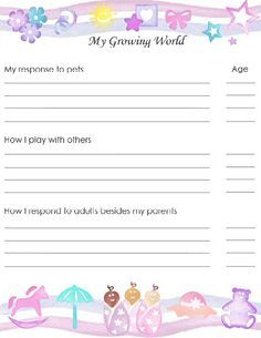image relating to Baby Memory Book Pages Printable titled Pinterest