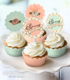 Happy spring Cupcake toppers printables for a spring wedding or baby shower