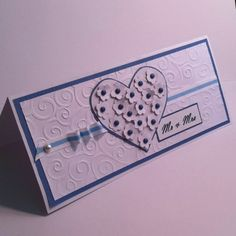 Mr & Mrs card, in white and blue