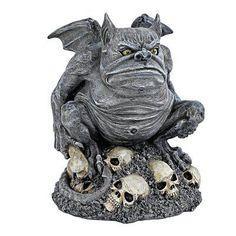 Design Toscano Bone Chiller the Troll Gargoyle Halloween Statue >>> Click image for more details. Outdoor Statues, Garden Statues, Garden Sculptures, Gothic Gargoyles, Bat Wings, Troll, Halloween Decorations, Lion Sculpture, Skulls