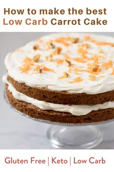 Sweet and dense cake filled with carrots, spices and nuts, and topped with a creamy cinnamon cream cheese frosting. This Sugar Free Carrot Cake is everything you've ever dreamed of in a low carb carrot cake recipe! #carrotcake #lowcarb #glutenfree #ketocake #keto Low Carb Carrot Cake, Gluten Free Cakes, Carrots, Keto, Carrot, Gluten Free Cupcakes