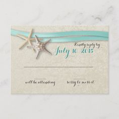 Shop Starfish and Aqua Ribbon Beach Response created by happygotimes. Beach Wedding Invitations, Custom Invitations, Party Invitations, Invite, Response Cards, No Response, Bridal Shower Rustic, Rustic Wedding, Wedding Supplies