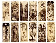 Examples of an antique Tarot deck found in online images. There was no information at all listed about these. If anyone has seen these before, perhaps they have been duplicated by some publishing/printing company, please let me know. I would be interested in purchasing if they could be found. This was all the images posted. Thx - Michael