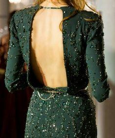 Backless dress #green