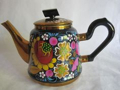 Hand Painted Russian Enamel Teapot Floral Flowers Signed