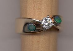 Opal and Diamond Engagement Ring by Opals canada $3,500