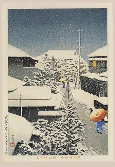 """""""Snow at Daichi"""" by Hasui, Kawase"""
