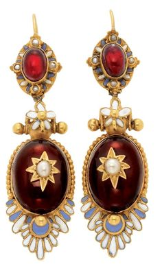 Holbeinesque Gold, Cabochon Garnet, Enamel and Split Pearl Pendant-Earrings. 15 ct., topped by and suspending 4 oval cabochon garnets, ...