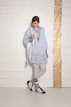 #danieladallavalle #collection #ss16 #elisacavaletti #kaftan #leggings#earrings #necklace #bag #shoes #jewellery #lightblue #blue #stripes #fantasy #black #white #leather