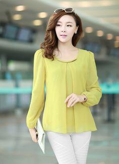 Womens casual tops moda 2015 nuevo otoño nuevas mujeres camisa de gasa blusa de manga larga para mujer blusas camisetas tallas S XXXL 4XL en Blusas y Camisas de Moda y Complementos Mujer en AliExpress.com | Alibaba Group