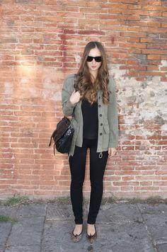 leopard flats, proenza schouler bag, green parka