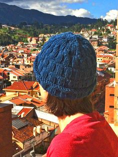 Apparel | blue basket weave hat knitted