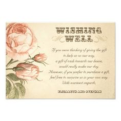 wedding wishing well vintage cards with pink roses drawing
