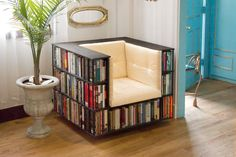 Check out this clever chair with built-in storage for 350-400 books on HGTV.com.