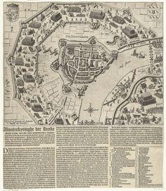 Baptista van Doetechum | Beleg en inname van Grave door Maurits, 1602, Baptista van Doetechum, 1602 | Beleg en inname van de stad Grave door het Staatse leger onder prins Maurits, 18 juli - 20 september 1602. Kaart van Grave met de omsingeling door de troepen van de prins. Linksboven het wapen van de Staten-Generaal, rechtsboven het stadswapen van Grave. Apart gedrukt onder de voorstelling een Nederlandse tekst in 3 kolommen, met de legenda A-Z en a-u.