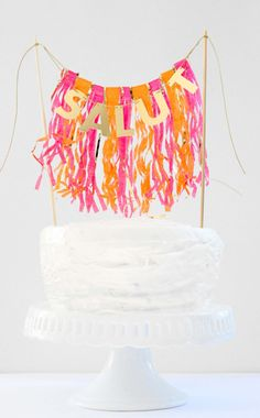 Custom Fringe Cake Topper by michiemay on Etsy