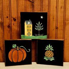 Primitive Wood Signs, Primitive Folk Art, Holiday Time, Mini, Different Colors, Solid Wood, Hanger, Decoration, Frame