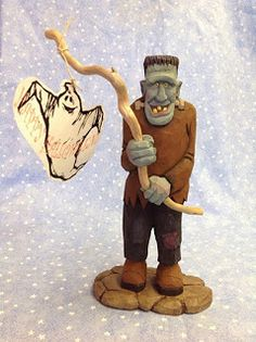 This is a hand craved Frankenstein by Alaskan wood carver Susan M. Smith for sale $380.