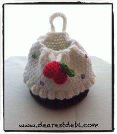 Crochet Magdalena Monedero con las cerezas en tapa - Queridos Patrones Debi
