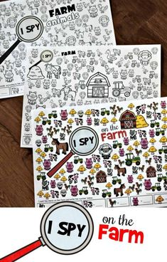 FREE I Spy on the Farm – this free printable I Spy games is perfect for preschool, kindergarten and first grade students working on visual discrimination and counting. Print in color or black and white for some fun math worksheets! Fun Math Worksheets, Animal Worksheets, Printable Worksheets, Farm Animals Preschool, Preschool Math, Zoo Animals, Preschool Ideas, Farm Activities, Kindergarten Activities