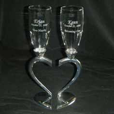 Silver Heart Stem Pair of Flutes - a nice item for a wedding shower gift