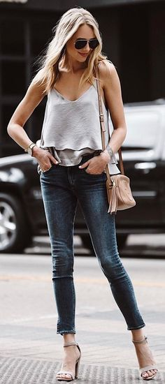 #summer #outfits Grey Tank + Skinny Jeans + Grey Sandals